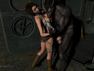 Satanic 3D wolfs fucks a dick-loving brunette - Picture 1