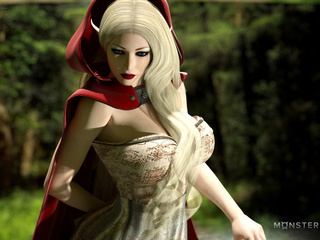Little Red Riding Hood and satanic 3D wolf - Picture 1