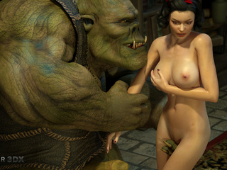 Gigantic 3D monster with green skin and a beauty - Picture 1