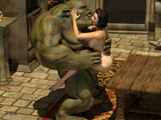 Gigantic 3D monster with green skin and a beauty - Picture 3