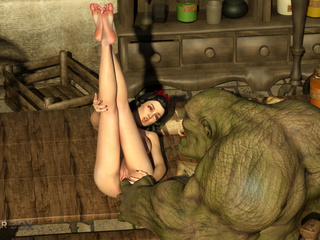 Godlike brunette gets her pussy banged by 3D monster - Picture 4