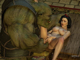 Green monster pounds a lustful as fuck 3D brunette - Picture 2