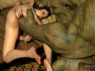 Green monster pounds a lustful as fuck 3D brunette - Picture 4