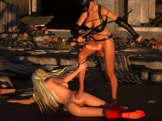 Busty 3D catwoman hardly nailed a slender blondie - Picture 2
