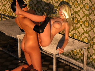 Busty 3D catwoman hardly nailed a slender blondie - Picture 6