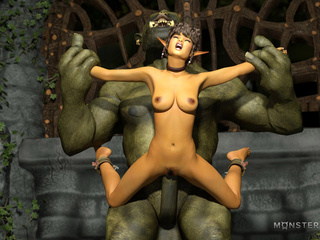 Handcuffed princesses fucks with gigantic monsters - Picture 2