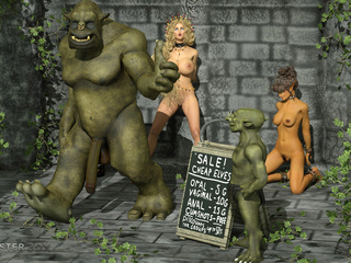 Handcuffed princesses fucks with gigantic monsters - Picture 3