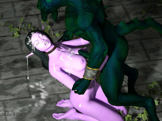 Handcuffed princesses fucks with gigantic monsters - Picture 6