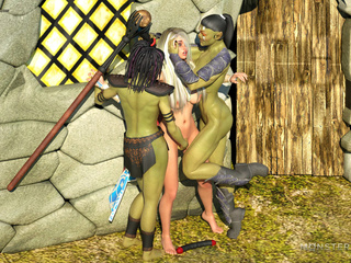 Muscled 3D giant and his submissive sex slaves - Picture 1