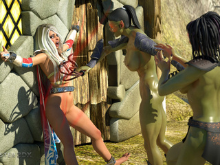 Muscled 3D giant and his submissive sex slaves - Picture 3