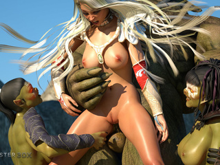 Muscled 3D giant and his submissive sex slaves - Picture 5