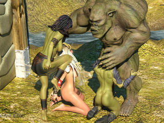 Muscled 3D giant and his submissive sex slaves - Picture 6