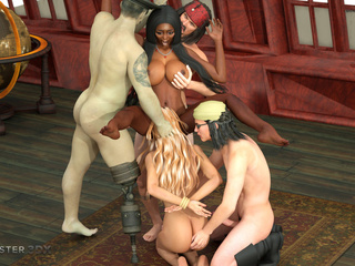 Horny pirates and monsters bangs two busty 3D - Picture 4