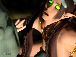 Muscled 3D monsters nails a godlike brunette pixie - Picture 1