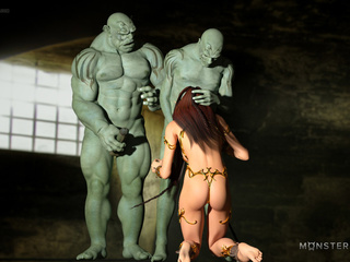 Muscled 3D monsters nails a godlike brunette pixie - Picture 2