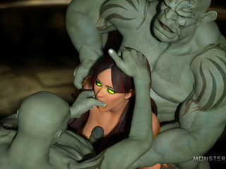 Muscled 3D monsters nails a godlike brunette pixie - Picture 4