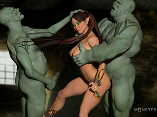 Muscled 3D monsters nails a godlike brunette pixie - Picture 5
