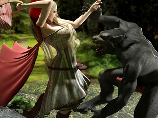Black 3D wolfs hardly screws an innocent blonde - Picture 1