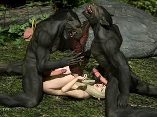 Black 3D wolfs hardly screws an innocent blonde - Picture 4