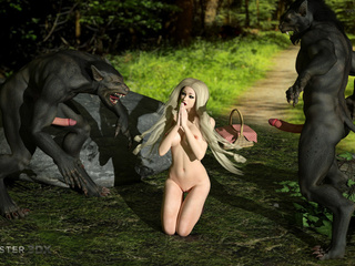 Brutal 3D DP sex with wolfs and a perfect blonde - Picture 2