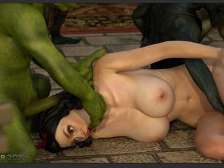 Big breasted 3D brunette enjoys brutal monster sex - Picture 6