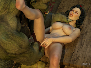 Gigantic green monster dicks a slutty busty model - Picture 2