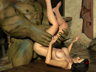 Gigantic green monster dicks a slutty busty model - Picture 3