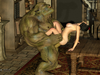 Outstanding 3D sex with a green beast and a goddess - Picture 3