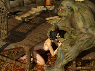 Outstanding 3D sex with a green beast and a goddess - Picture 4