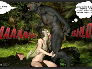 Sexy Little Red Riding Hood and a brutal 3D wolf - Picture 4
