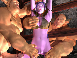Purple 3D goddess nailed hard by the big monsters - Picture 2