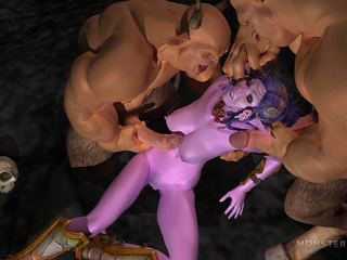 Purple 3D goddess nailed hard by the big monsters - Picture 5