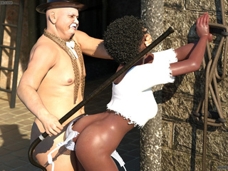 Perfect 3D ebony rides her first white cock with - Picture 1
