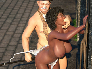 Bonded big tit ebony banged outdoors by an old wizard - Picture 1