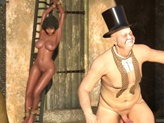 Bonded big tit ebony banged outdoors by an old wizard - Picture 6