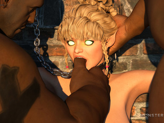 Black men have a hot blonde bound with a collar and - Picture 1