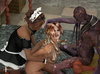 A purple creature and an ebony maid have fun with a submissive blonde's