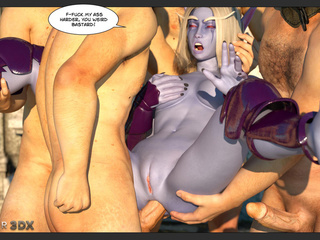 During gangbang action, a chick with purple skin is - Picture 4