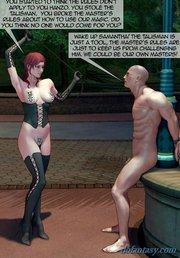 redhead black corset humiliates