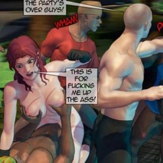 Outdoor interracial gangbang with a - BDSM Art Collection - Pic 4