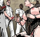 Blonde is sitting on the face surrounded by masturbating men. Prison Horror