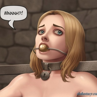 Gagged blonde with big boobs is waiting - BDSM Art Collection - Pic 3
