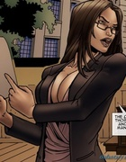 Busty layer looks awesome in office suit. Objection Overruled By  Comixchef