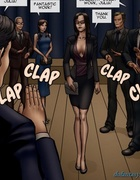 Impressed office workers claps for a busty lawyer. Objection Overruled