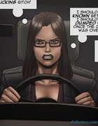 Short-haired brunette lawyer has a deep cleavage. Objection Overruled