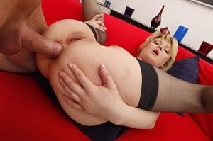 Stockings-clad short-haired blonde enjoys brutal anal sex - XXXonXXX - Pic 16