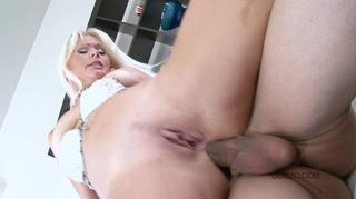 businesswoman-looking blonde milf enjoys