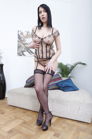 Corset-wearing pale brunette gets ass-fucked on a couch - XXXonXXX - Pic 1