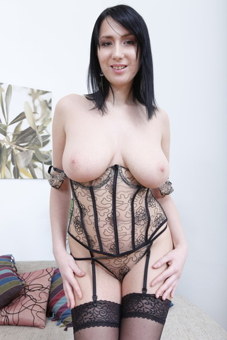 corset-wearing pale brunette ass-fucked