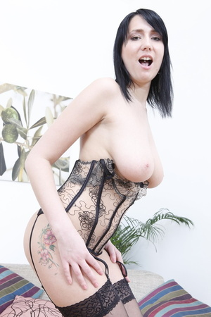 Corset-wearing pale brunette gets ass-fucked on a couch - XXXonXXX - Pic 10